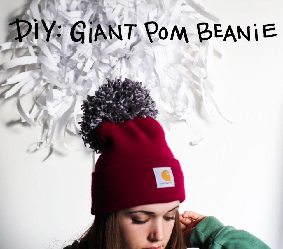 DIY giant pom beanie