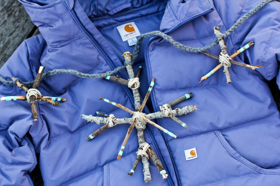DIY stick snowflake and Carhartt