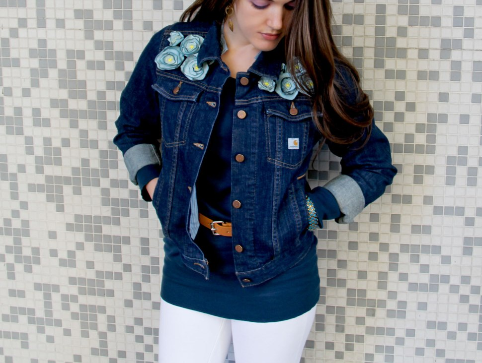 DIY fabric flowers and a Carhartt jacket
