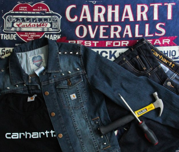 DIY studded jean jacket on Crafted in Carhartt
