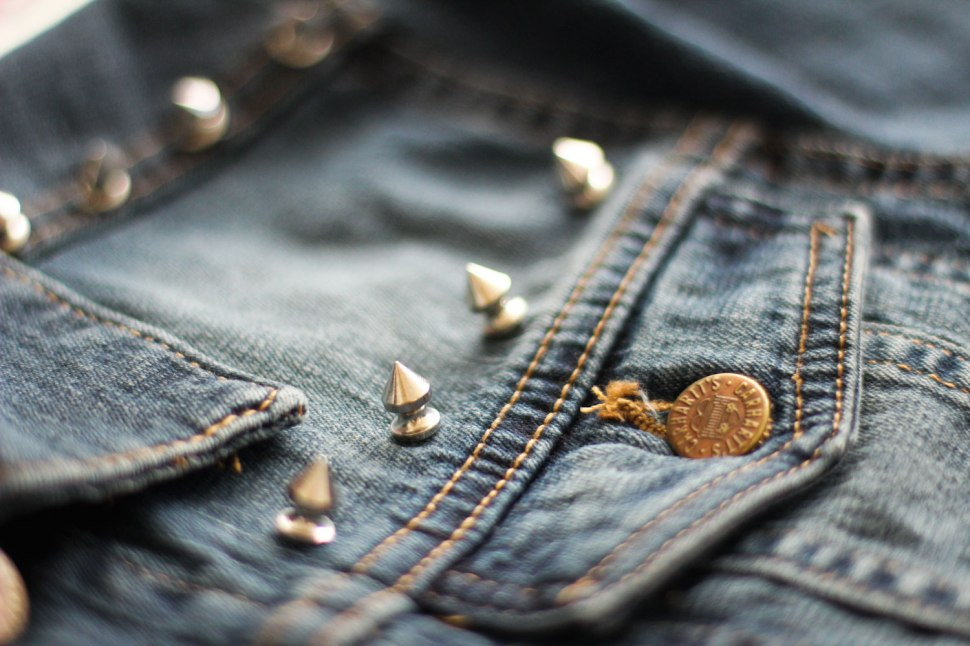 DIY studded jean jacket on Crafted in CarharttDIY studded jean jacket on Crafted in Carhartt