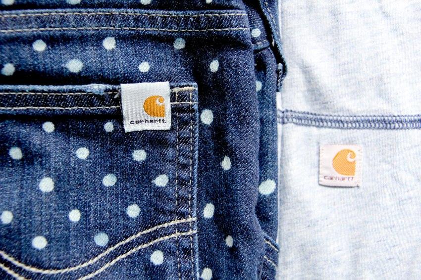 DIY polka dot Carhartt jeans