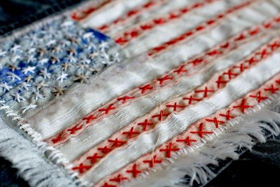 DIY Carhartt American flag vest