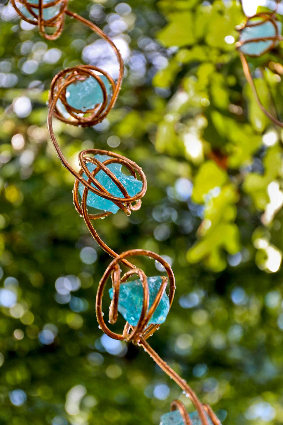glass and copper diy rain chain